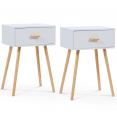 Lot de 2 tables de chevet blanches scandinaves en bois
