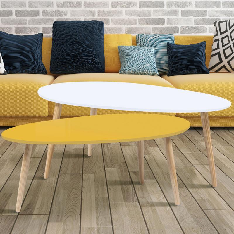 lot de 2 tables basses gigognes laqu es jaune blanc pas. Black Bedroom Furniture Sets. Home Design Ideas