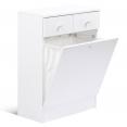 Meuble avec bac à linge intégré en bois blanc