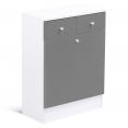 Meuble avec bac à linge intégré en bois gris blanc
