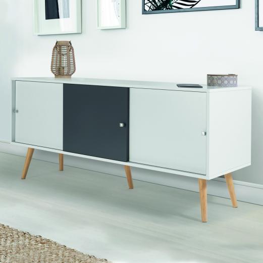 Buffet Effie scandinave bois blanc et gris