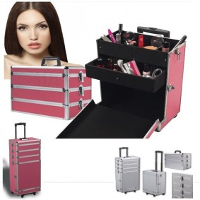Valise Rose trolley spéciale maquillage beauté cosmétique coiffure