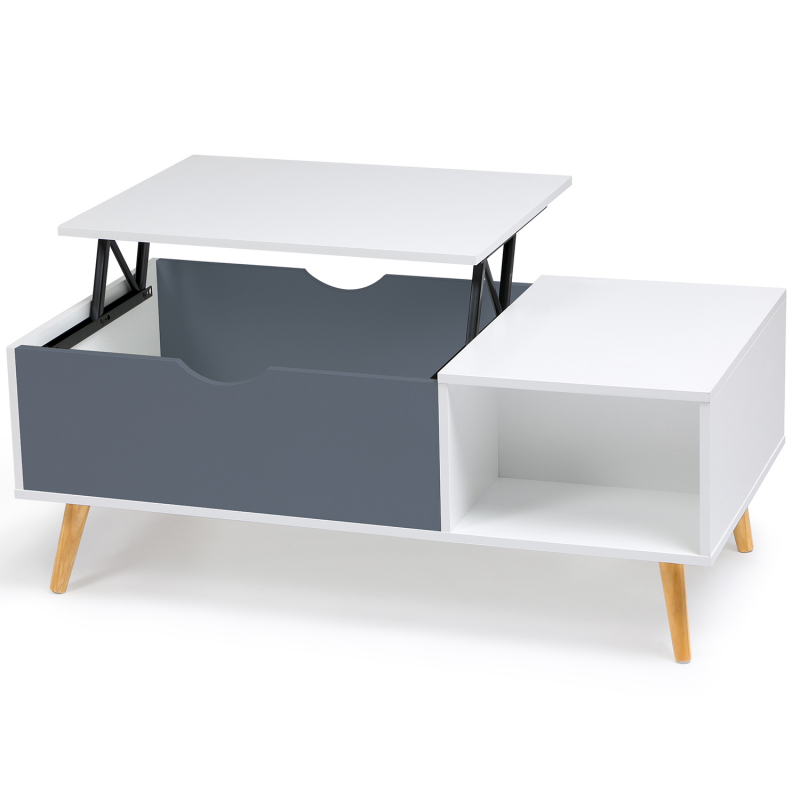 table basse effie plateau relevable bois blanc et gris. Black Bedroom Furniture Sets. Home Design Ideas