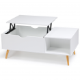 Table basse Effie plateau relevable bois blanc