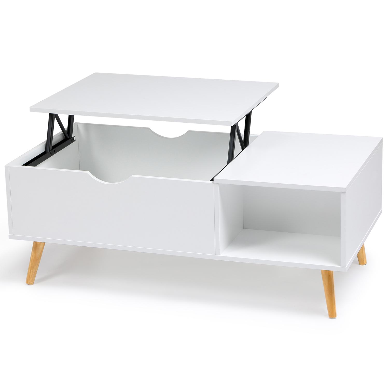 Table basse Effie plateau relevable bois blanc IDMarket