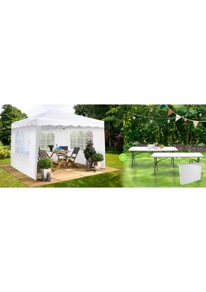 1 chapiteau et 2 tables pliantes pour des réceptions réussies !