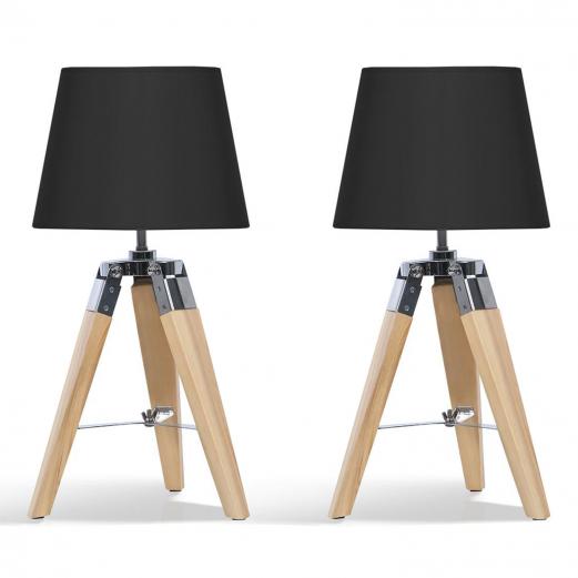 Lot de 2 lampes de chevet trépied en bois clair noires