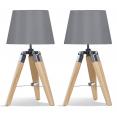 Lot de 2 lampes de chevet trépied en bois clair grises