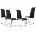 Lot de 4 chaises Mia noires liseré blanc pour salle à manger