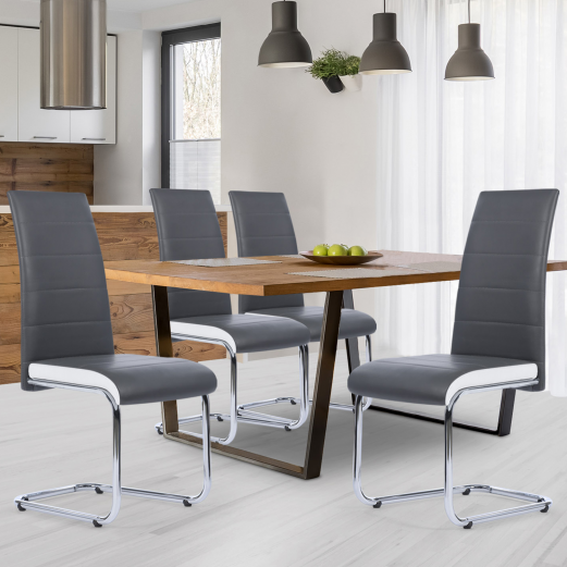 Lot de 4 chaises Mia grises liseré blanc pour salle à manger